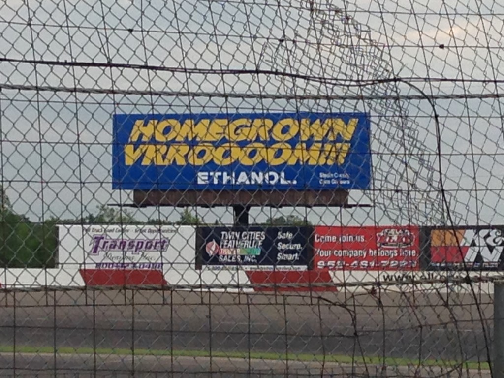 "This ""Homegrown Vroooom!"" billboard promotes ethanol year-round at Elko Speedway."