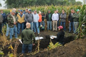 Talking soil health on Bryan Biegler's farm near Lake Wilson at a recent field day event.
